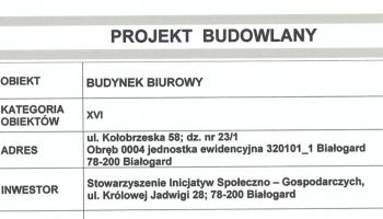 """Oferta na """"Przebudowa ściany w pomieszczeniu biurowym w budynku przy ul. Kołobrzeskiej 58 w Białogardzie"""""""